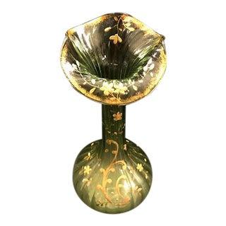 Antique XIX Century Rare Emerald Green Glass Rocaille Vase