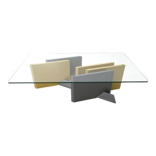 Crystal and Lacquered Wood Coffee Table, 1980s