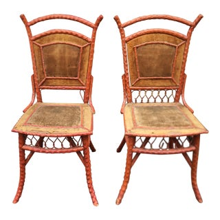 Pair of Antique Painted Wicker Chairs