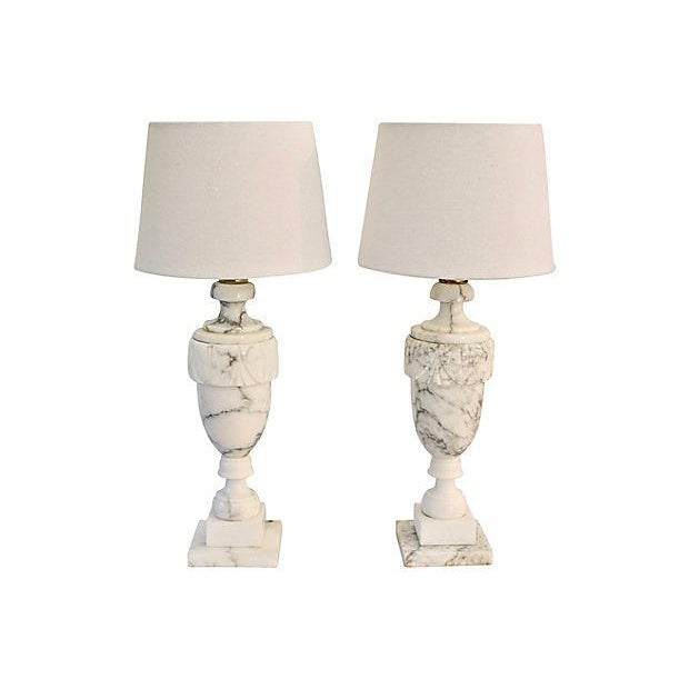 Neoclassical Carved Marble Lamps - A Pair - Image 2 of 8