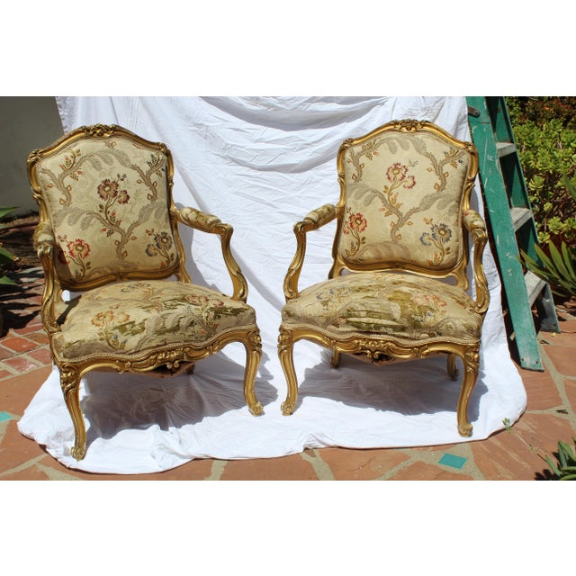Maison Jansen Pr. Of Signed Maison Jansen Arm Chairs Late 19c. Louis XV Style For Sale - Image 4 of 12