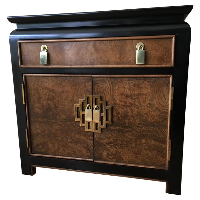 Vintage Century Burled Wood Asian Nightstand - Image 1 of 11