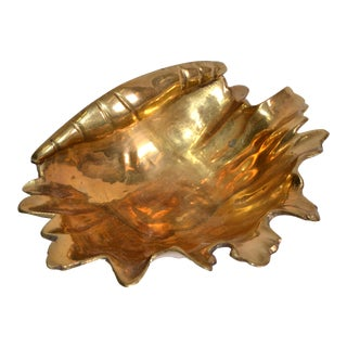 Hollywood Regency Bronze Footed Nautical Seashell Catchall, Bowl, Raymor, Italy For Sale