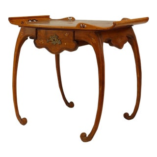French Art Nouveau Walnut and Floral Inlaid Serving Table on Scroll Legs