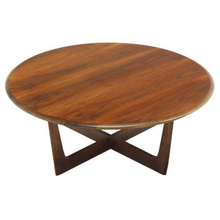 Walnut X-Base Round Coffee Table For Sale