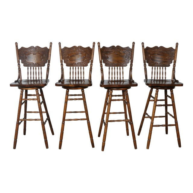 Country Style Solid Oak Bar Stools - Set of 4 - Image 1 of 9