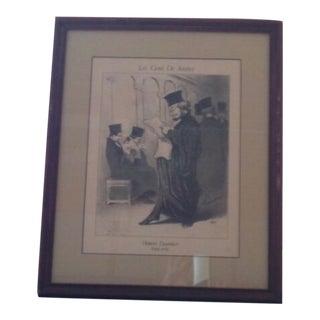 """Vintage Framed Honore Daumier """"Les Gens De Justice"""" 885"""" Lithograph Print For Sale"""