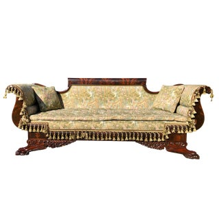 Mid 19th Century Empire Heavily Carved Flame Mahogany Settee For Sale