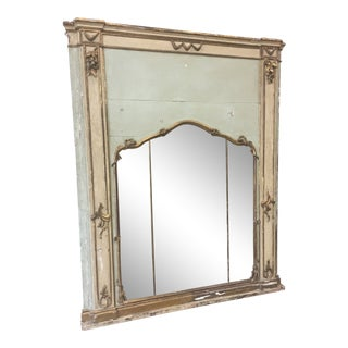19th C Italian Tuscan Painted Parcel Gilt Trumeau Mirror For Sale