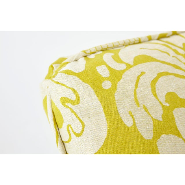Schumacher Anna Damask Acid Green Square Pillow 18x18- Pair For Sale In New York - Image 6 of 8