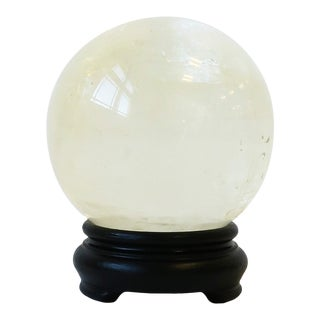 Rock Crystal Sphere With Black Base For Sale