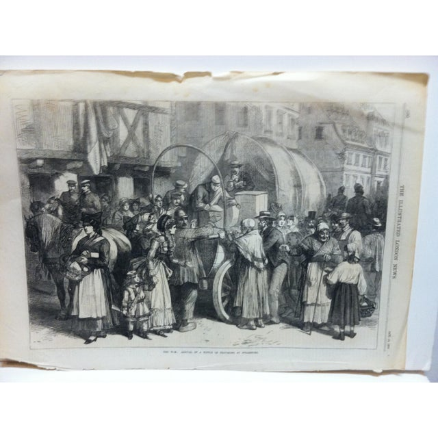 """This is an Antique Original Print from The Illustrated London News that is titled """"The War - Arrival Of A Supply Of..."""