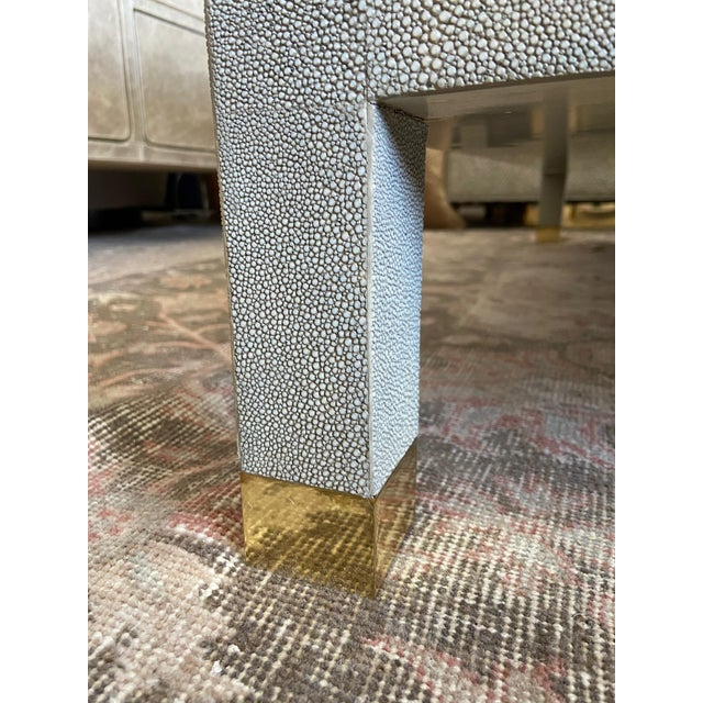 Large Square Faux Shagreen Coffee Table For Sale - Image 4 of 8