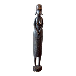 Vintage Hand Carved African Woman Statues For Sale