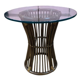 1960s Rattan Round Side Table With Glass Top For Sale
