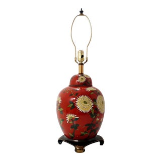 Vintage Persimmon Ginger Jar Lamp With Hand Painted Chrysanthemums by Falkenstein For Sale