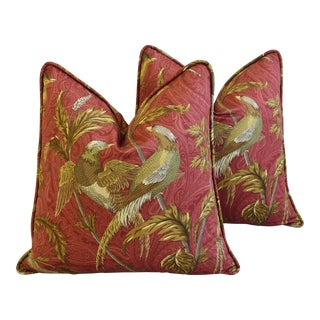 "Designer Chinoiserie Exotic Birds Feather/Down Pillows 22"" Square - Pair"