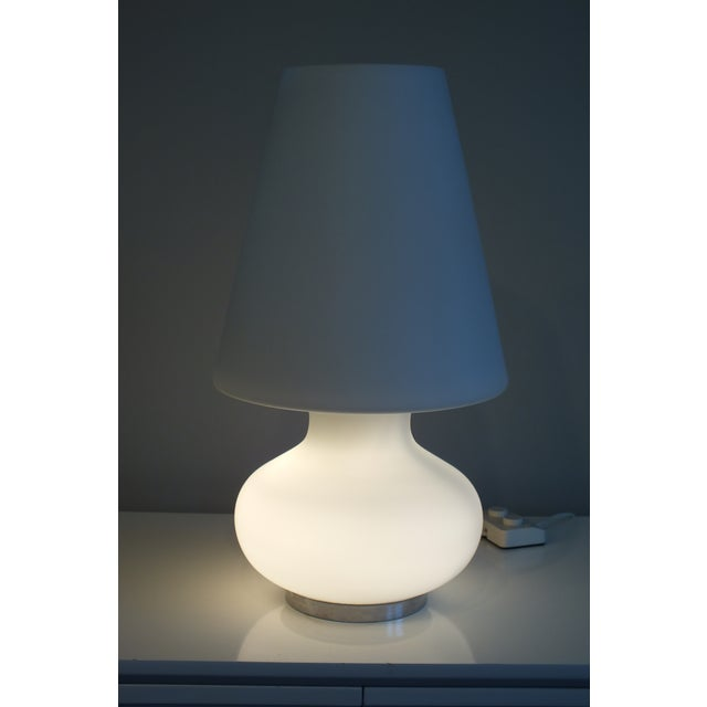 "Mid-Century 22"" Tall Frosted Glass Lamp - Image 10 of 10"