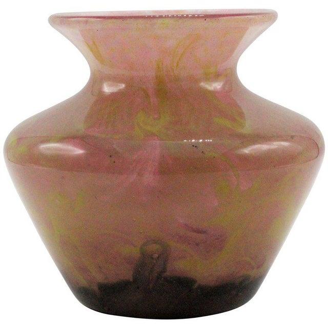 1920s Charles Schneider Pink Art Glass Squat Vase For Sale - Image 12 of 12