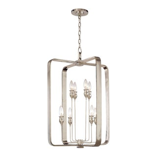 Contemporary Hudson Valley Lighting Rumsford 8 Light Nickel Silver Pendant Chandelier For Sale