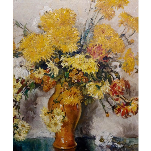 "Thorwald Albert Probst ""Flowers of Fall"" Still Life Oil Panting C.1910s For Sale - Image 4 of 11"