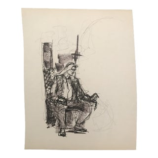 1950s Portrait of a Man Drawing For Sale