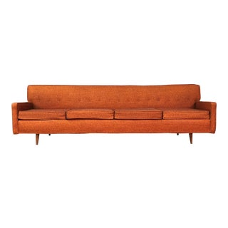 "Sealy Orange Tweed Mid-Century Modern Sofa ~ 98"" Long"