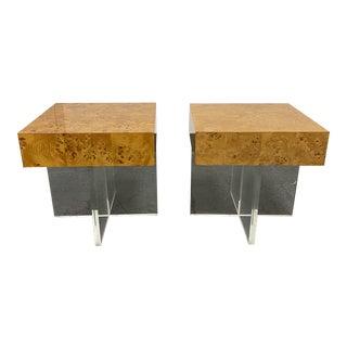 Jonathan Adler Acrylic + Burl Wood Bond Side Tables - a Pair For Sale