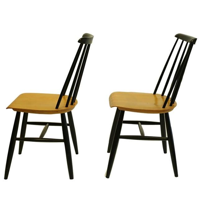 Ilmari Tapiovaara Imari Tapiovaara Teak and Black Lacquered Dining Chairs, Circa 1940-1949 - a Pair For Sale - Image 4 of 8
