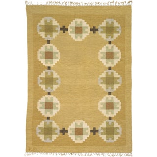 20th Century Swedish Flat Weave Rug-6′8″ × 9′6″ For Sale