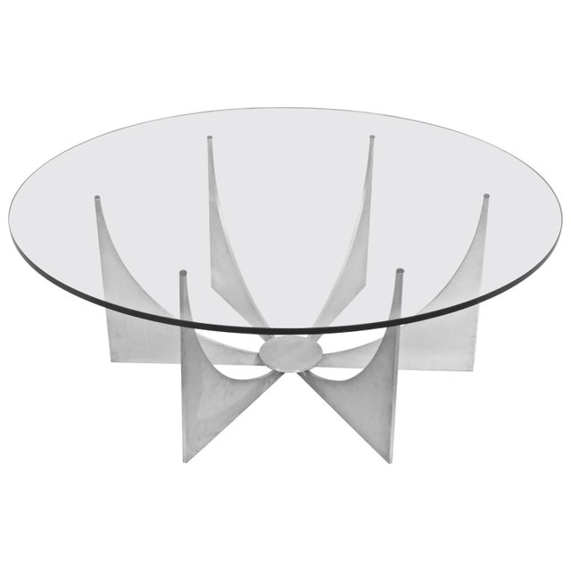 Donald Drumm Brushed Aluminum & Glass Starburst Coffee Table For Sale - Image 6 of 6