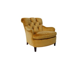 Mid Century Baker Furniture Gold Velvet Chair For Sale