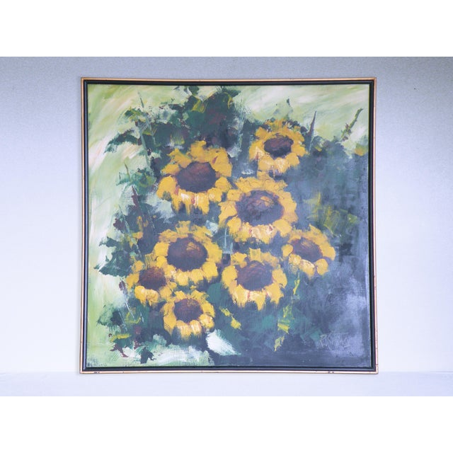 Mid-Century R. Styles Modernist Sunflowers Painting For Sale In Chicago - Image 6 of 6