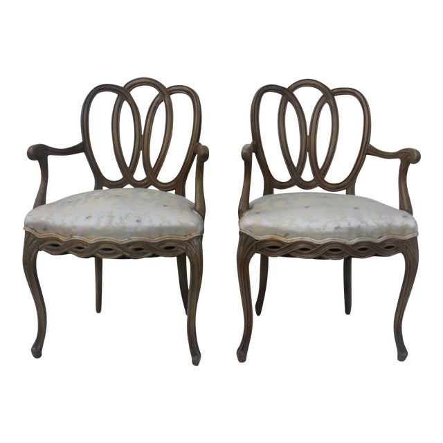 Hollywood Regency Dorothy Draper Style Arm Chairs- A Pair - Image 1 of 11