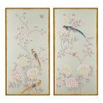 "Jardins en Fleur ""Chatsworth House"" Chinoiserie Hand-Painted Silk Diptych With Gold Italian Frame by Simon Paul Scott - a Pair"
