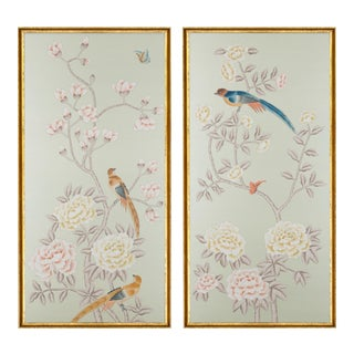 """Jardins en Fleur """"Chatsworth House"""" Chinoiserie Hand-Painted Silk Diptych With Gold Italian Frame by Simon Paul Scott - a Pair For Sale"""