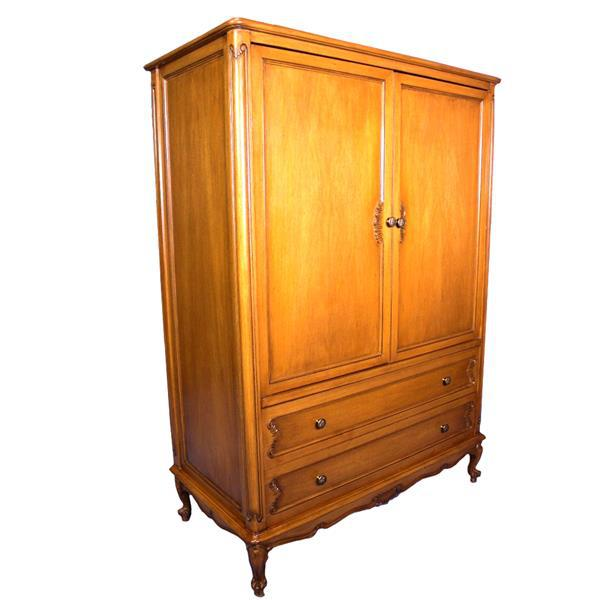 French Country French Provincial Country Walnut Armoire For Sale - Image 3 of 8