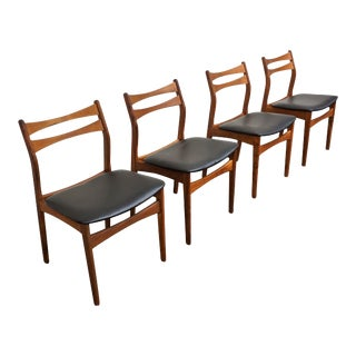 "Original Danish Mid Century Modern Set of 4 Teak Dining Chairs - ""Ebberup"" For Sale"