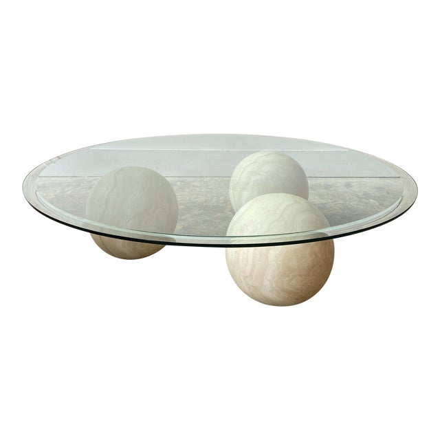 Memphis Style Marble and Glass Top Coffee Table For Sale