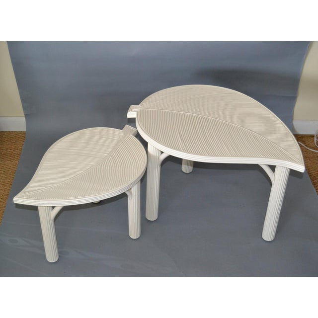 Hollywood Regency Hollywood Regency Two Leaf Shaped Bamboo & Pencil Reed Side Tables - a Pair For Sale - Image 3 of 13