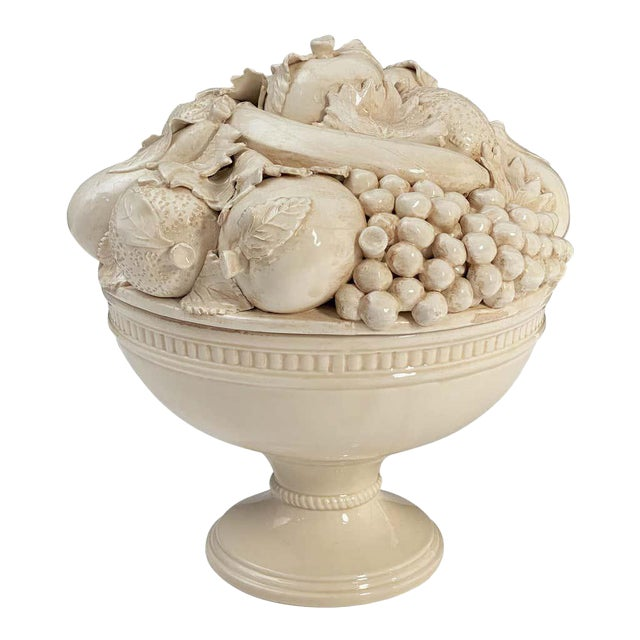Italian Creamware Tureen or Bowl on Pedestal With Mixed Fruit Topiary Top For Sale