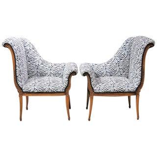 Regency Style Zebra Print Lounge Chairs - A Pair