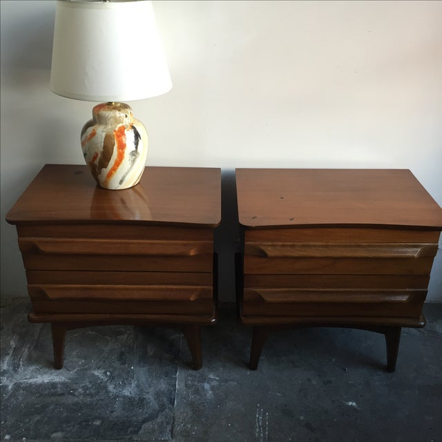 Mid-Century Mahogany Nightstands - A Pair - Image 3 of 5