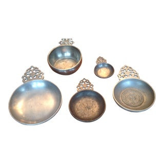 Pewter Porringers Dishes - Set of 5 For Sale