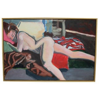 Vintage Nude, Horizontal Oil Painting on Canvas For Sale