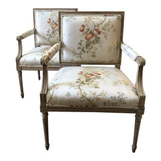 Paint Finished Wood Framed Arm Chairs With Silk Upholstery - a Pair For Sale
