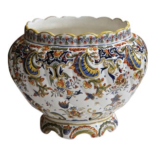 Early 20th Century French Hand-Painted Cachepot From Rouen Normandy