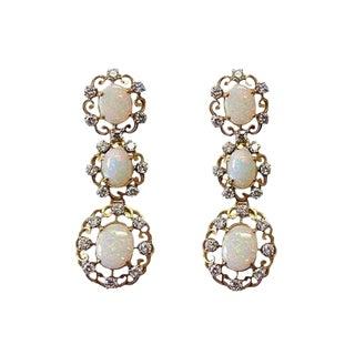 18k Gold Diamond and Opal Pierced Dangling Earrings For Sale