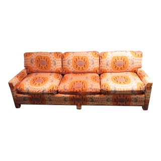 Henredon Schoonbeck 8 Ft. Sofa in Brunschwig & Fils Samarkand Ikat Fabric Vtg For Sale