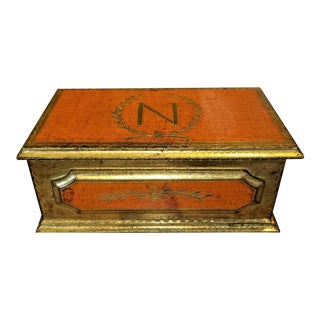 Napoleon Crested Gilted Trinket Box For Sale